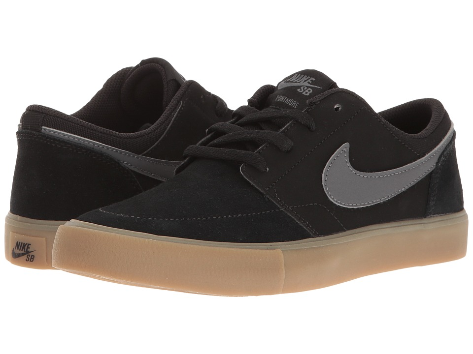 Nike SB Kids - Portmore II (Big Kid) (Black/Dark Grey/Gum/Light Brown) Boy's Shoes