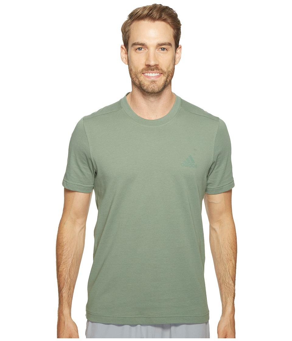 adidas - Essentials Droptail 3-Stripes Tee (Trace Green/Trace Green) Men's T Shirt