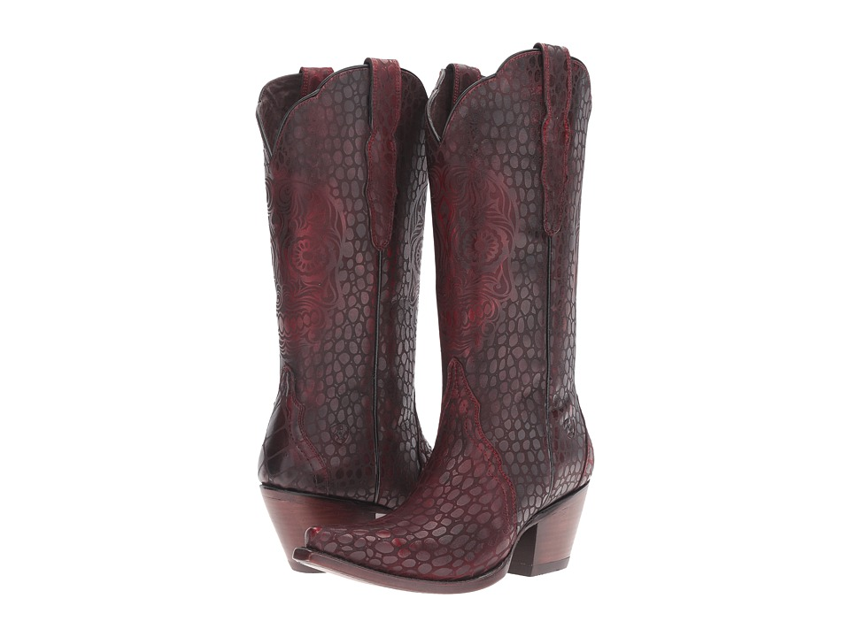Ariat - Catrina (Naturally Red Croc Print) Cowboy Boots