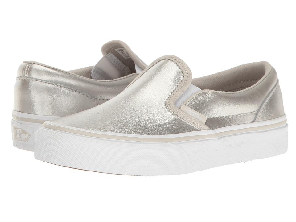 Vans Kids Classic Slip-On (Little Kid/Big Kid) ((Metallic) Silver/True White 1) Girls Shoes