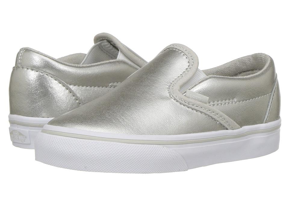 Vans Kids Classic Slip-On (Toddler) ((Metallic) Silver/True White 1) Girls Shoes