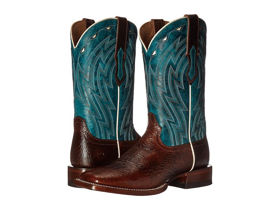 Ariat Cowtown (Chocolate Bullfrog Print/Caribbean Blue) Cowboy Boots