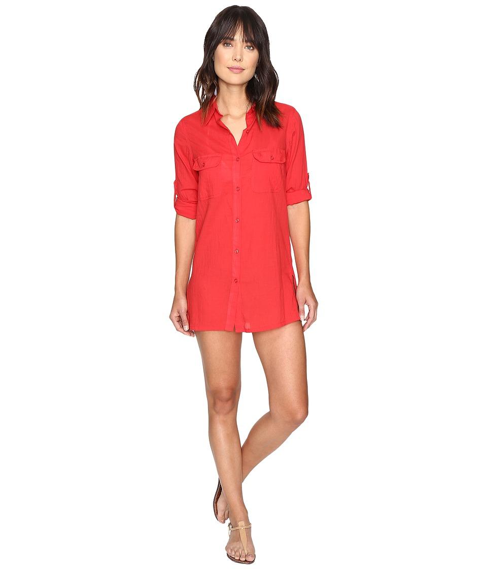 LAUREN Ralph Lauren - Crushed Camp Shirt Cover-Up (Red) Women's Swimwear