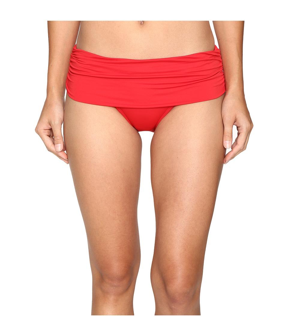LAUREN Ralph Lauren - Beach Club Solids Wide Shirred Banded Hipster Bottom (Red) Women's Swimwear