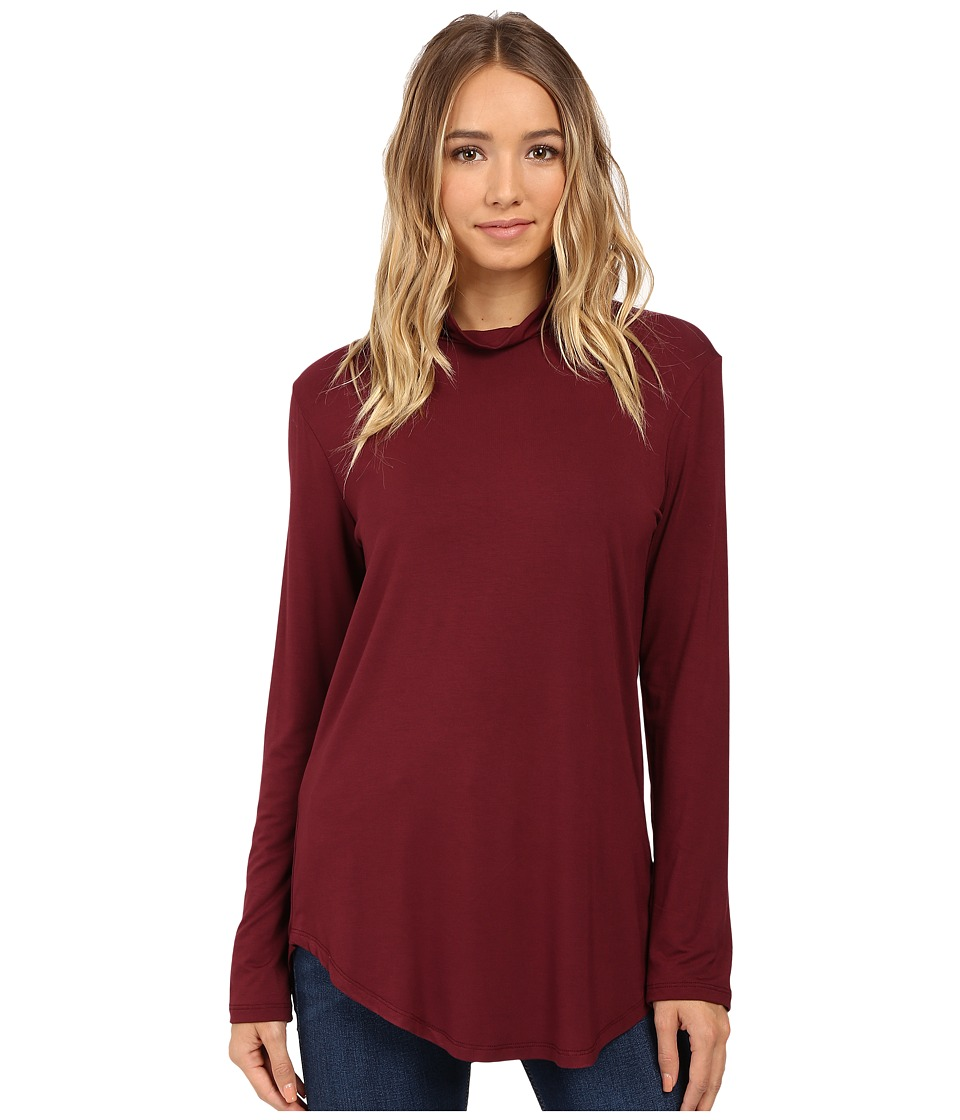 Culture Phit Hanna Mock Neck Top (Dark Wine) Women's Clothing