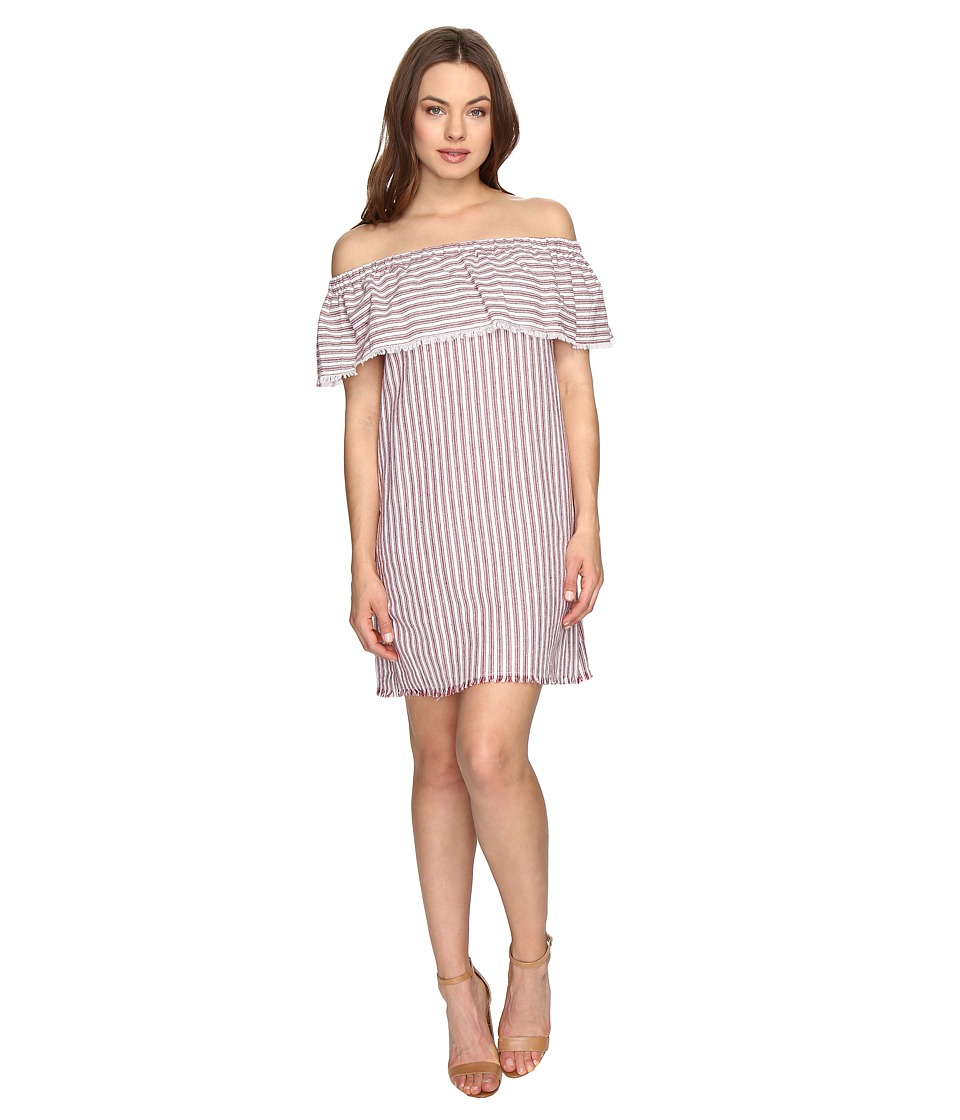 Brigitte Bailey - Finley Off the Shoulder Raw-Edge Striped Dress (Red/Ivory) Women's Dress