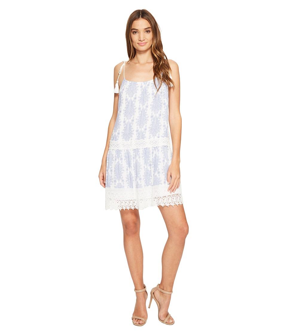 Brigitte Bailey - Hunter Spaghetti Strap Dress with Crochet Inset and Tassels (Blue/Ivory) Women's Dress