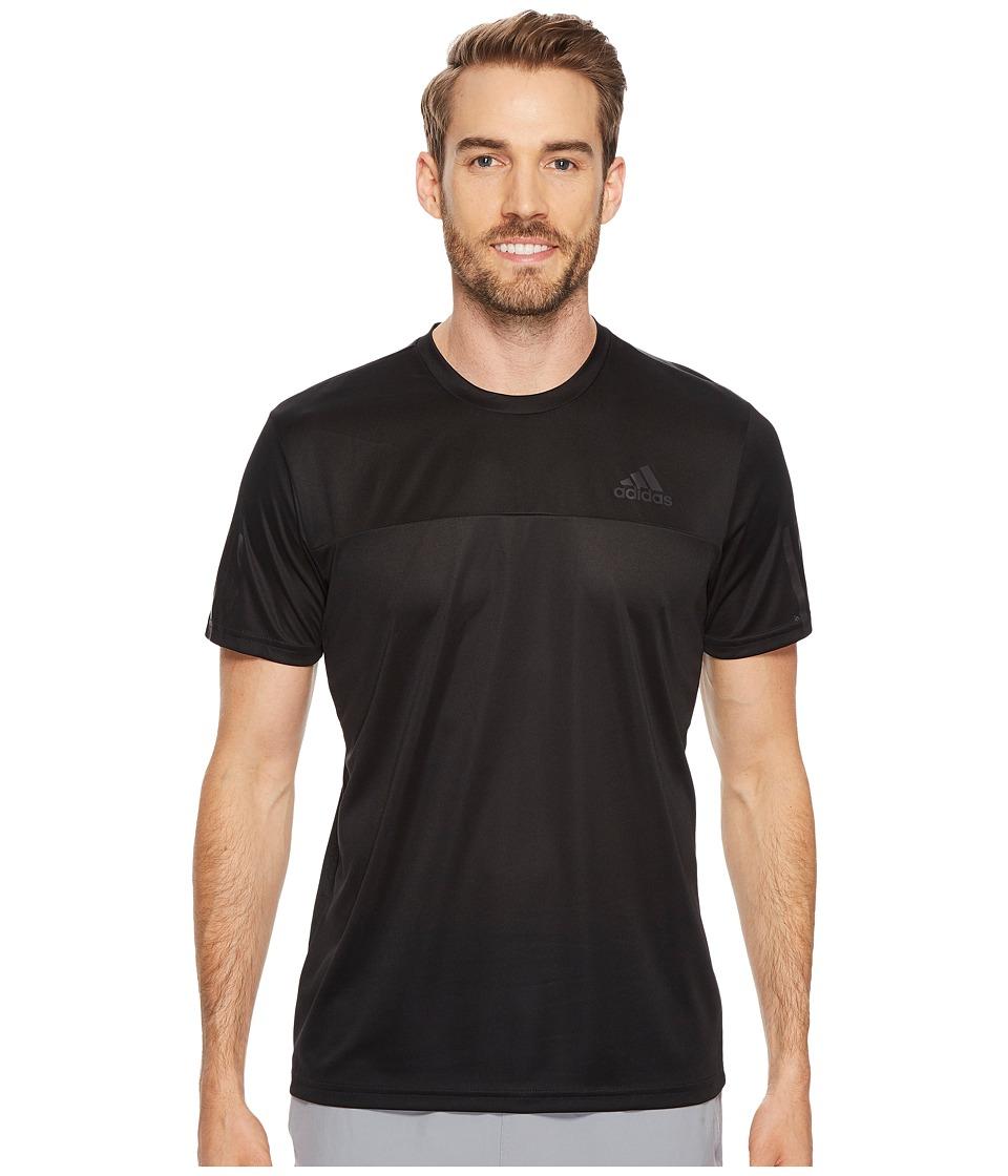 adidas Essentials Tech Colorblock Tee (Black/Black) Men
