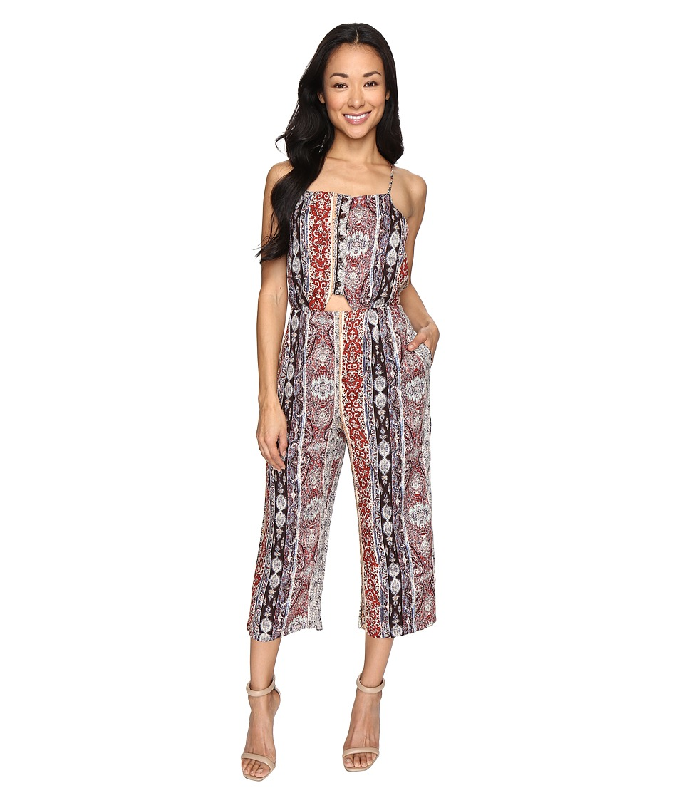 Brigitte Bailey - Kerry Spaghetti Strap Jumper with Waist Cut Out (Taupe/Multi) Women's Jumpsuit & Rompers One Piece