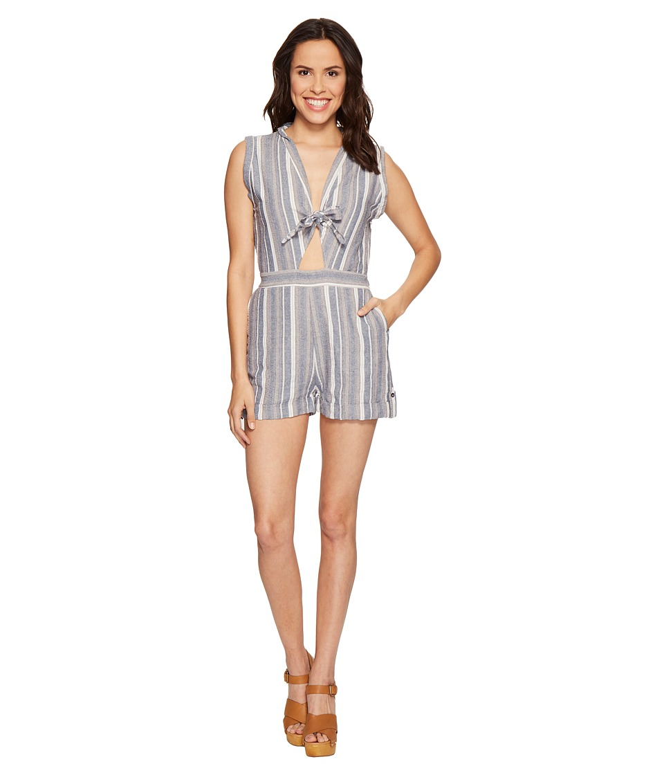 Brigitte Bailey - Kendall Sleeveless Romper with Front Tie (Chambray/Cream) Women's Jumpsuit & Rompers One Piece