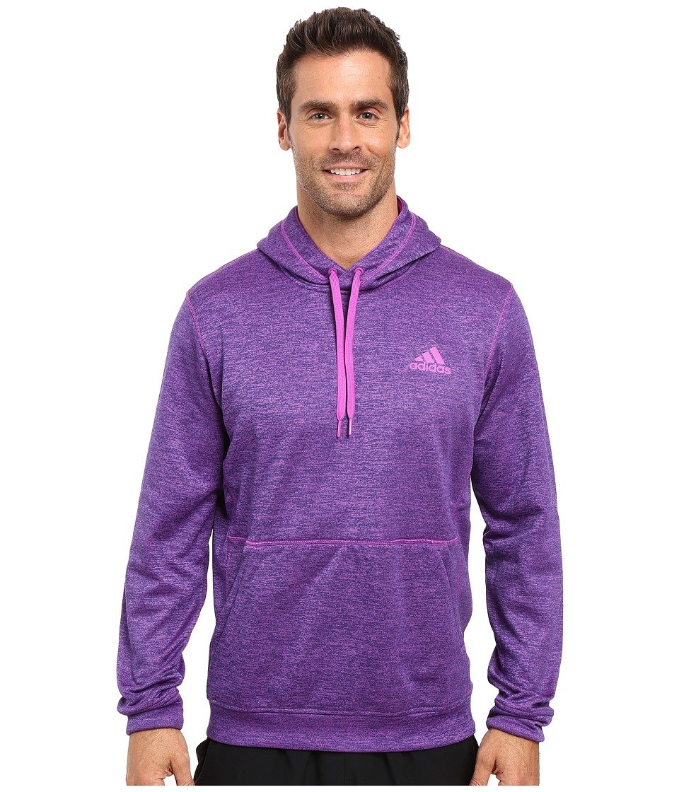 adidas Team Issue Fleece Pullover Hoodie (Shock Purple/Colored Heather) Men