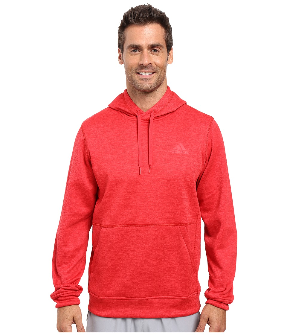 adidas - Team Issue Fleece Pullover Hoodie (Ray Red/Colored Heather) Men's Sweatshirt