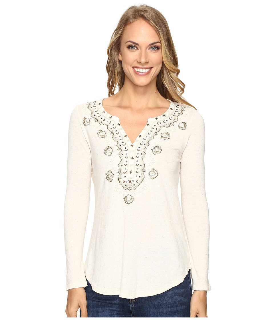 Lucky Brand - Embellished Bib Top (Natural) Women's Clothing