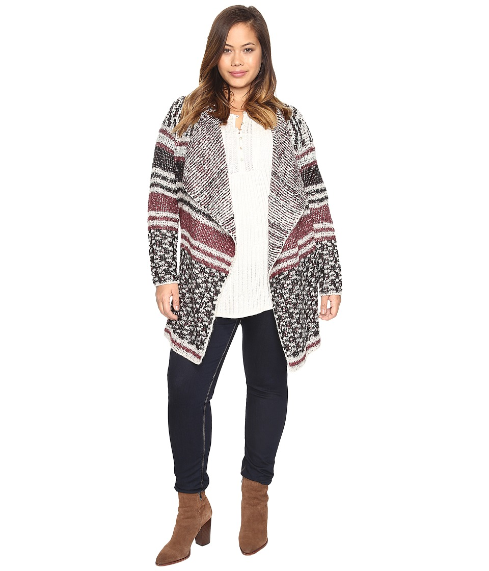 Lucky Brand - Plus Size Mixed Stripe Cardigan (Multi) Women's Sweater
