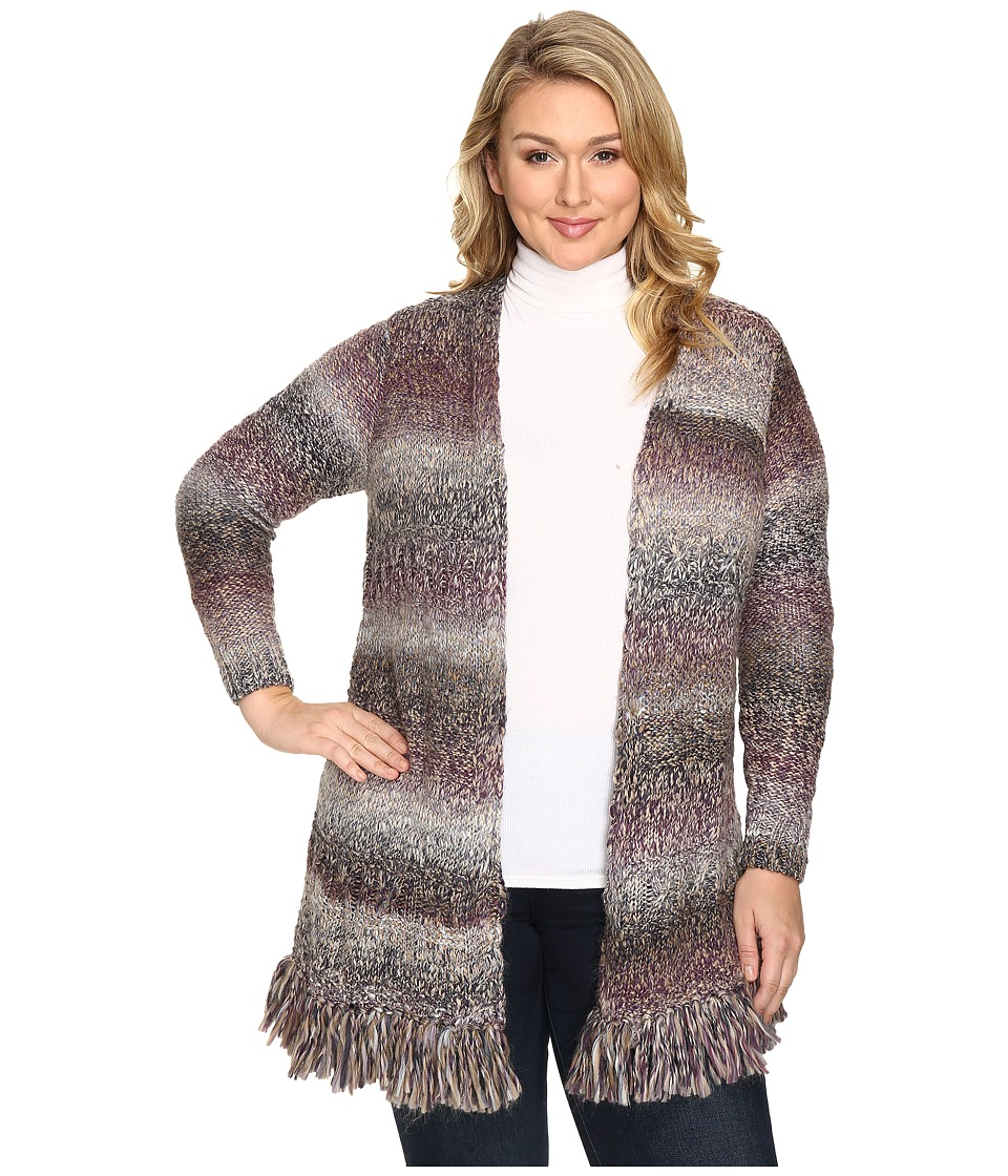 Lucky Brand - Plus Size Fringe Cardigan (Purple Multi) Women's Sweater