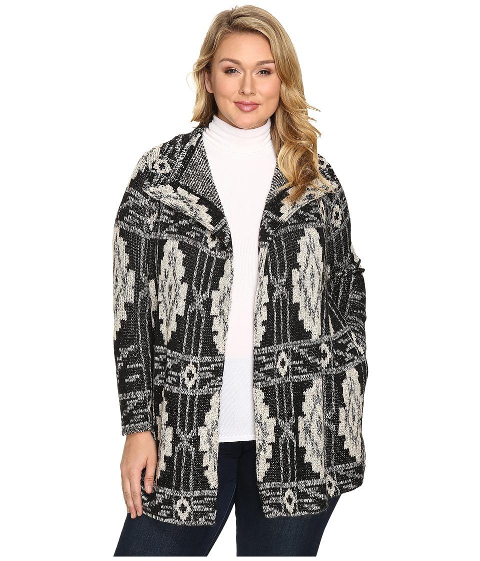 Lucky Brand - Plus Size Deco Cardigan (Black Multi) Women's Sweater