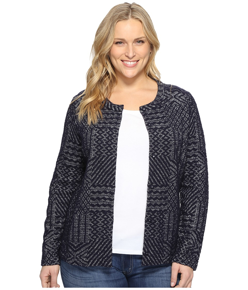 Lucky Brand - Plus Size Jacquard Sweater (Blue Multi) Women's Sweater