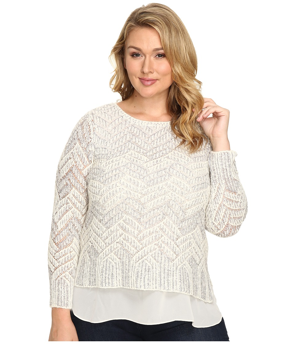 Lucky Brand - Plus Size Stitch Shine Sweater (White Combo) Women's Sweater