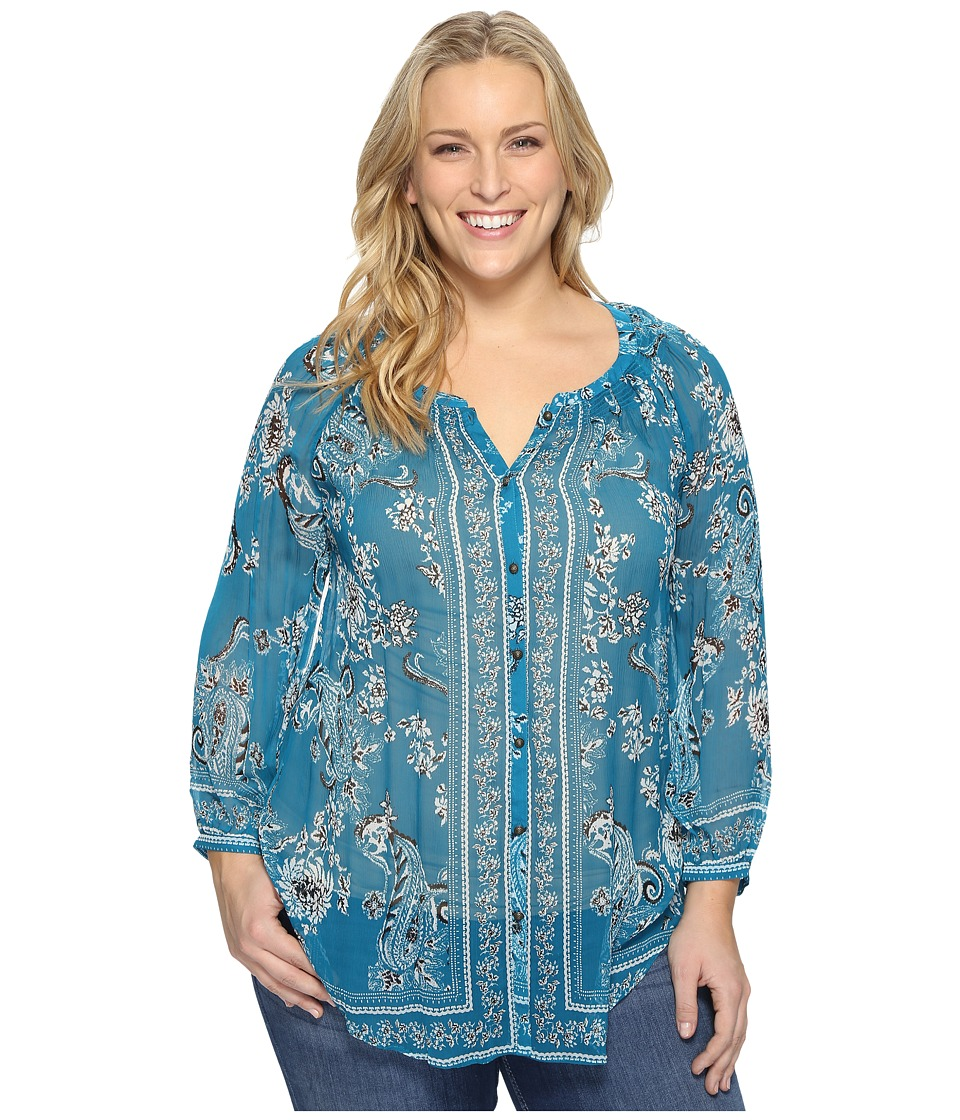 Lucky Brand - Plus Size Long Sleeve Blouse (Turquoise Multi) Women's Blouse