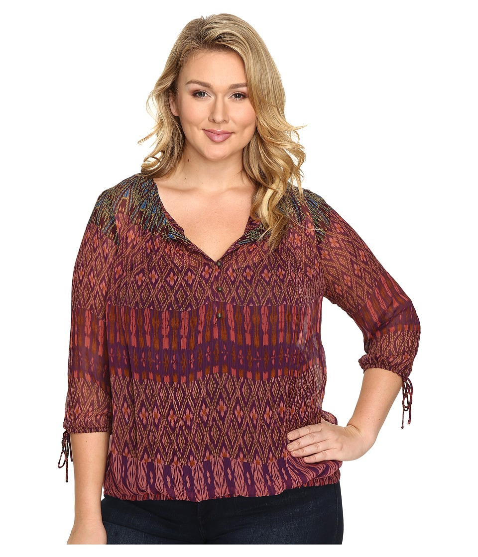 Lucky Brand - Plus Size Long Sleeve Blouse (Multi) Women's Blouse