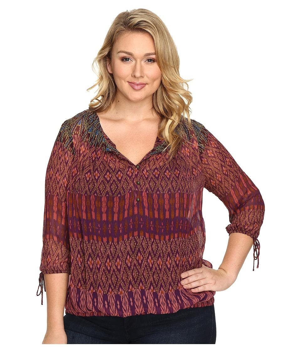 Lucky Brand - Plus Size Long Sleeve Blouse (Multi) Women's Blouse
