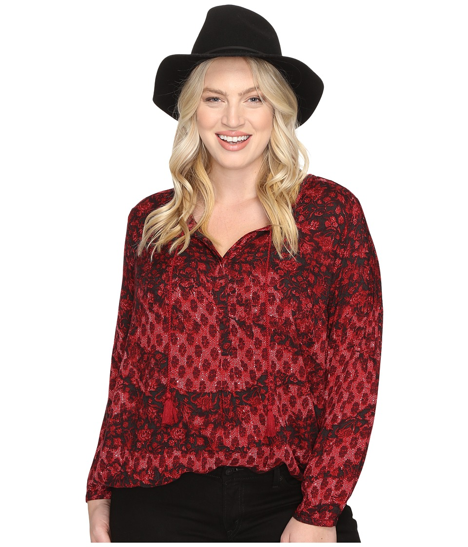 Lucky Brand - Plus Size Floral Peasant Blouse (Red Multi) Women's Blouse