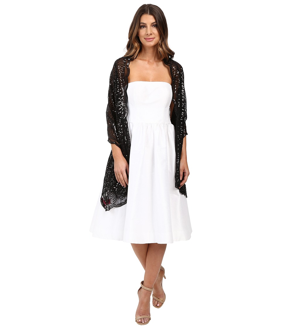 Betsey Johnson - Tulle Wrap with Sequin Scallop Pattern (Black) Women's Clothing
