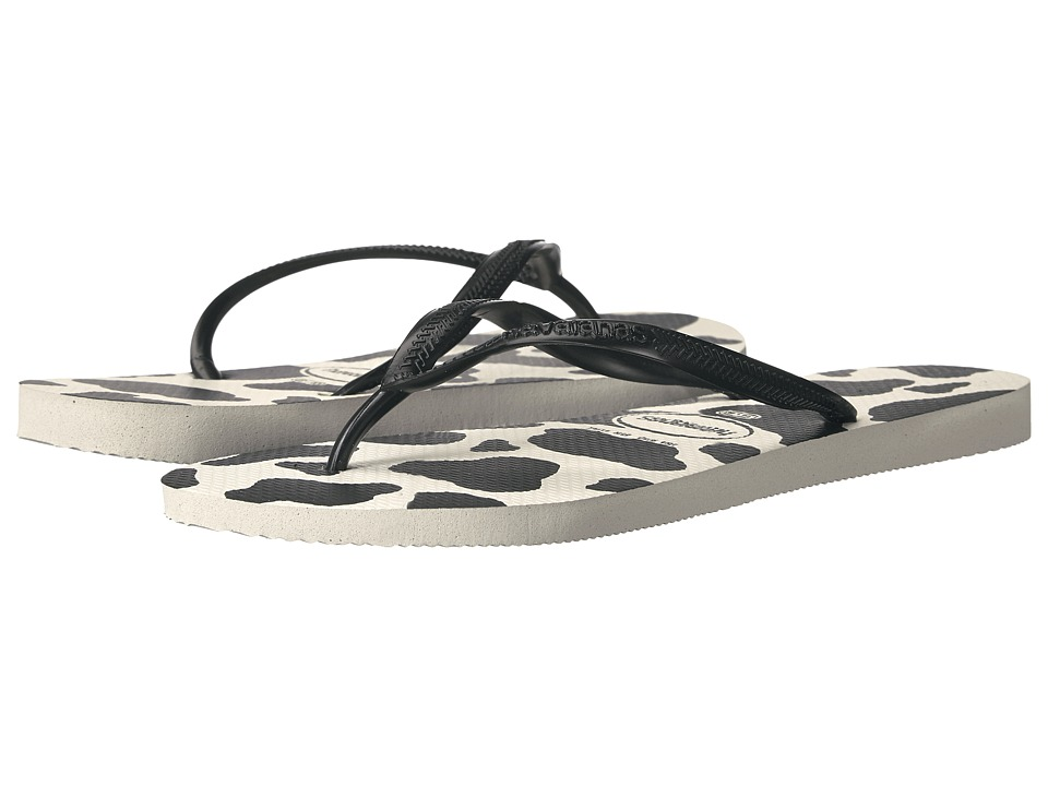 Havaianas Slim Animals Flip Flops (White/Black) Women