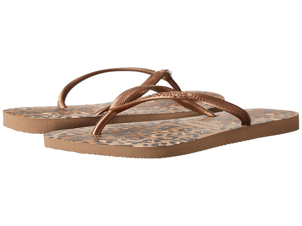 Havaianas - Slim Animals Flip Flops (Rose Gold) Women's Sandals