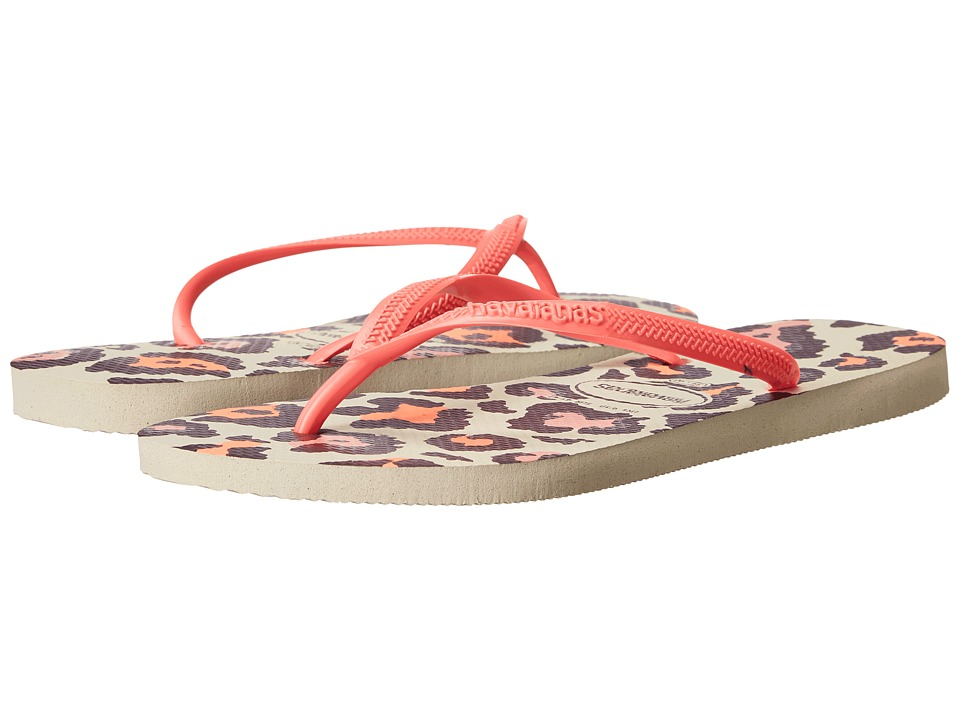 Havaianas Slim Animals Flip Flops (Beige/Coral New) Women