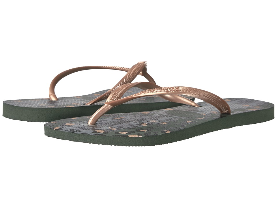 Havaianas - Slim Animals Flip Flops (Green Olive) Women's Sandals