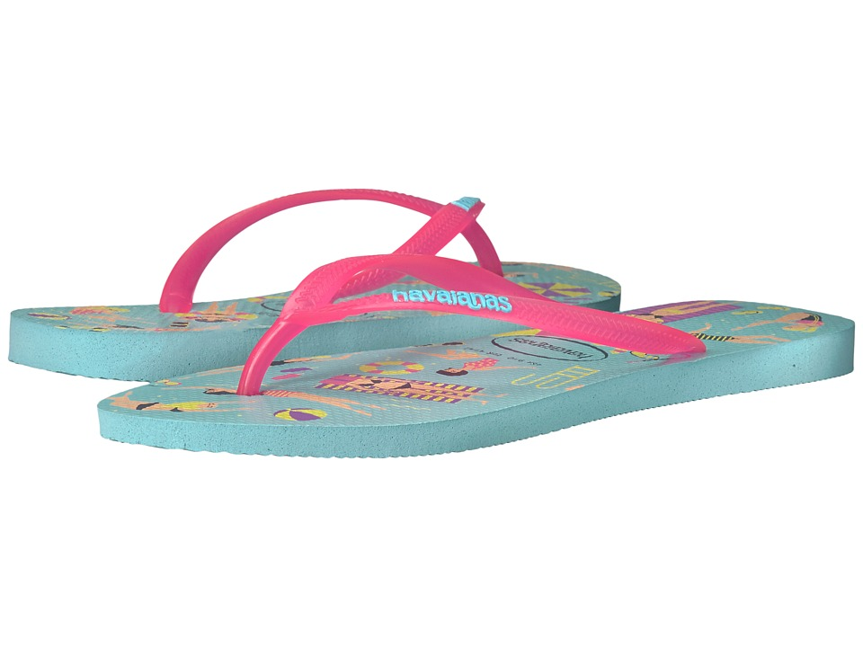 Havaianas - Havaianas Slim Cool Flip Flops (Ice Blue) Women's Sandals