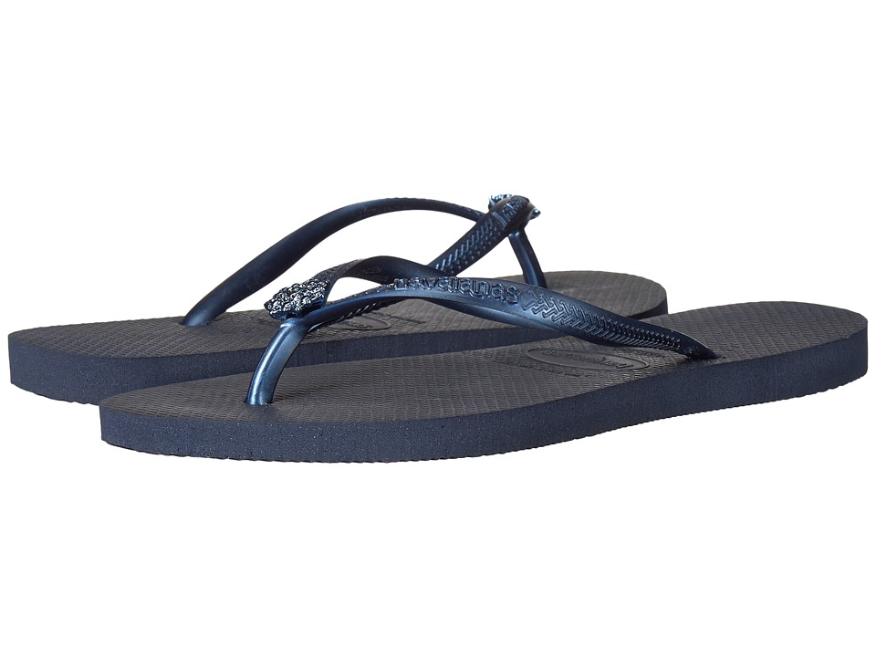 Havaianas - Slim Crystal Poem Flip Flops (Navy Blue 1) Women's Sandals