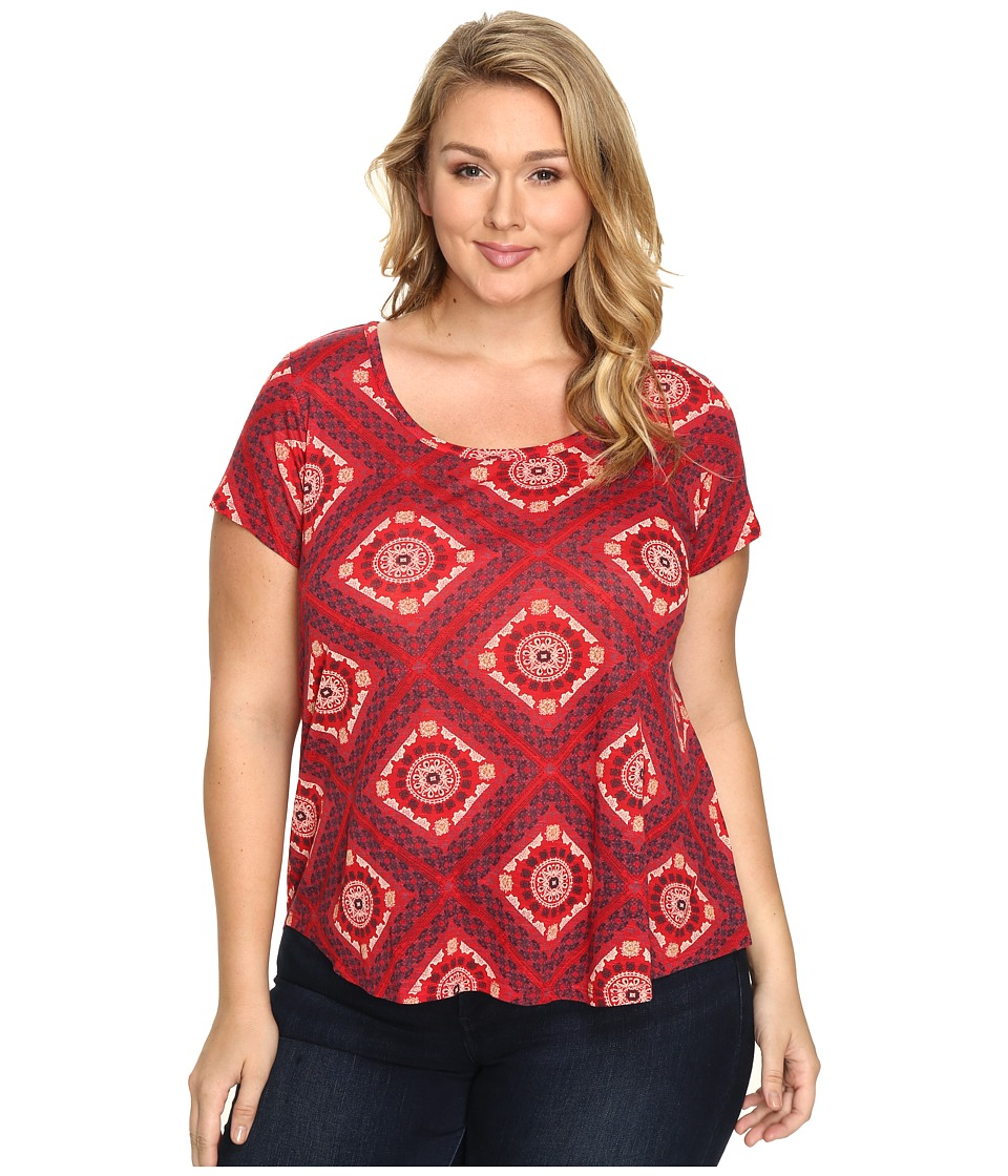 Lucky Brand - Plus Size Tile Tee (Red Multi) Women's T Shirt