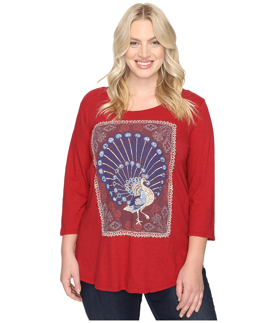 Lucky Brand Plus Size Peacock Rug Tee (Rio Red) Women