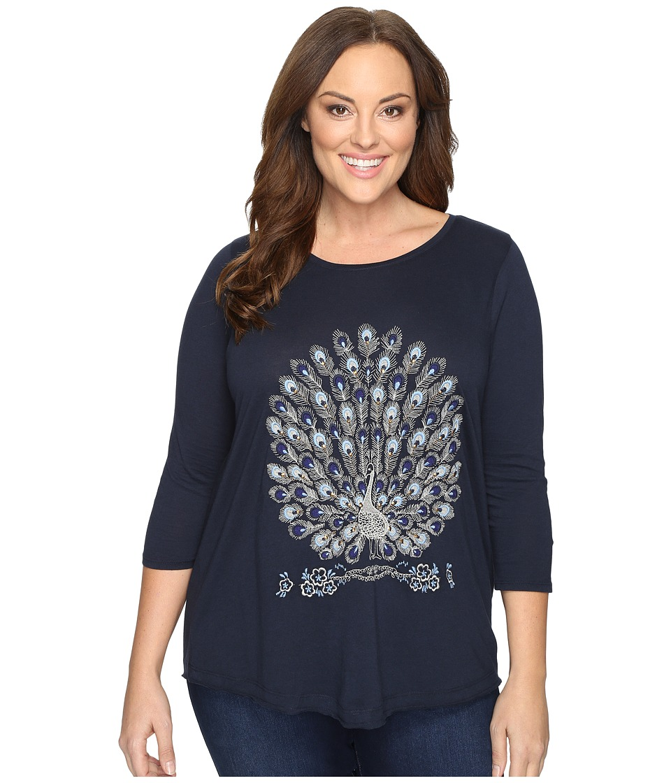 Lucky Brand Plus Size Embroidered Peacock Tee (American Navy) Women