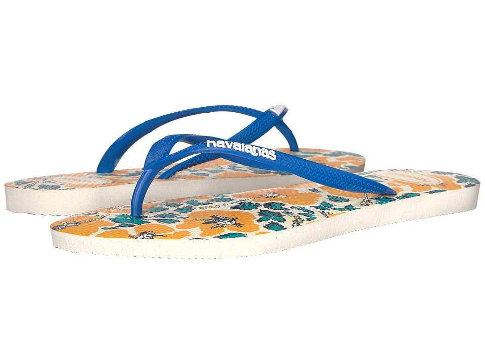 Havaianas Slim Floral Flip Flop (White/Blue Star) Women
