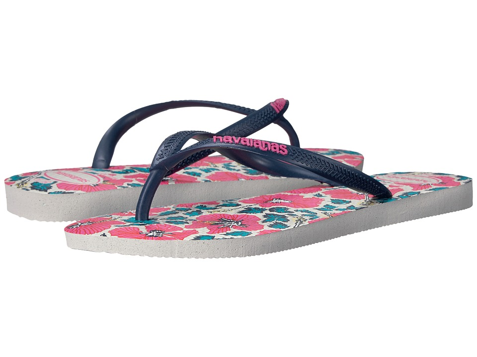 Havaianas - Slim Floral Flip Flop (White/Navy Blue) Women's Sandals