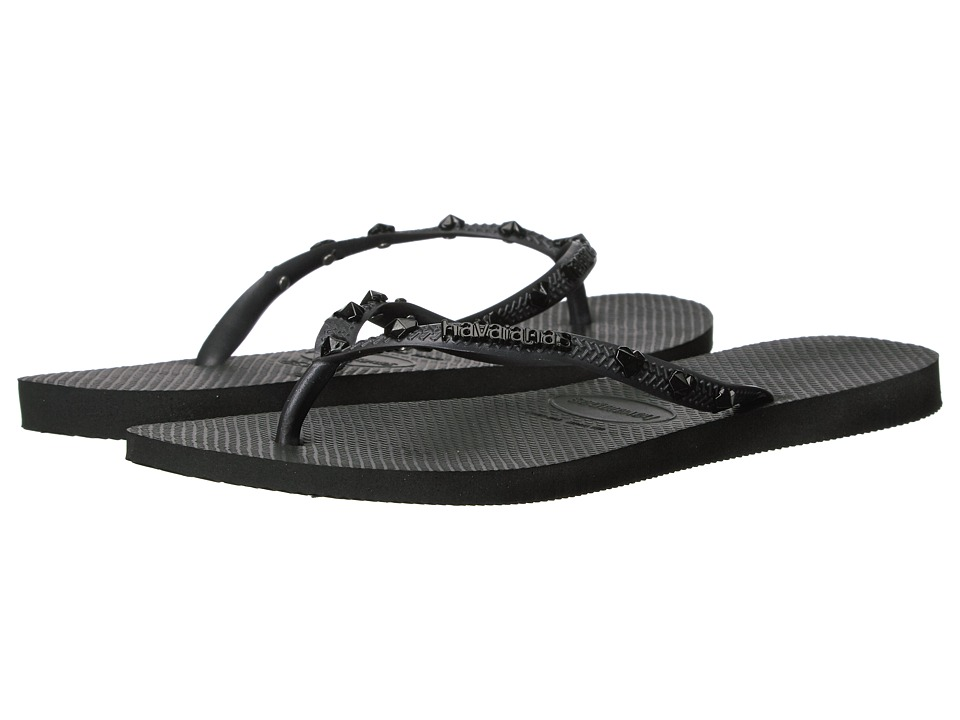 Havaianas Slim Hardware Flip Flops (Dark Grey) Women