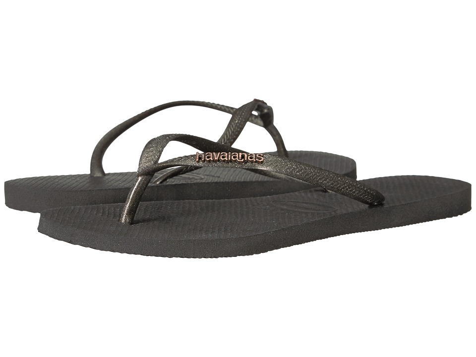 Havaianas - Slim Logo Metallic Flip Flops (Black/Gold) Women's Sandals