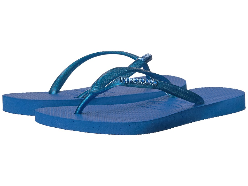Havaianas Slim Logo Metallic Flip Flops (Blue Star) Women