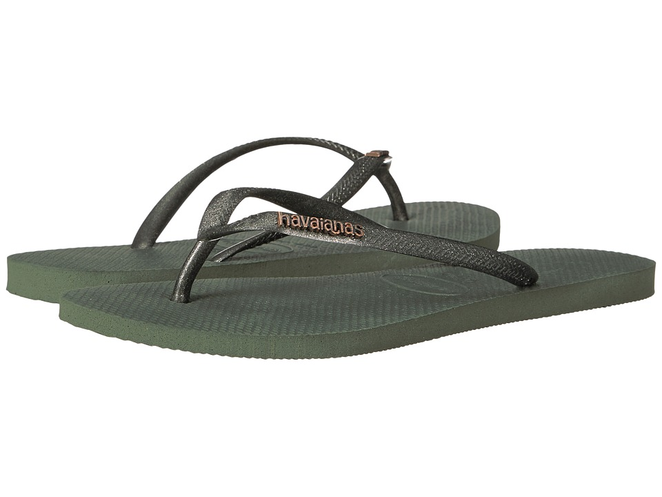 Havaianas - Slim Logo Metallic Flip Flops (Green Olive) Women's Sandals