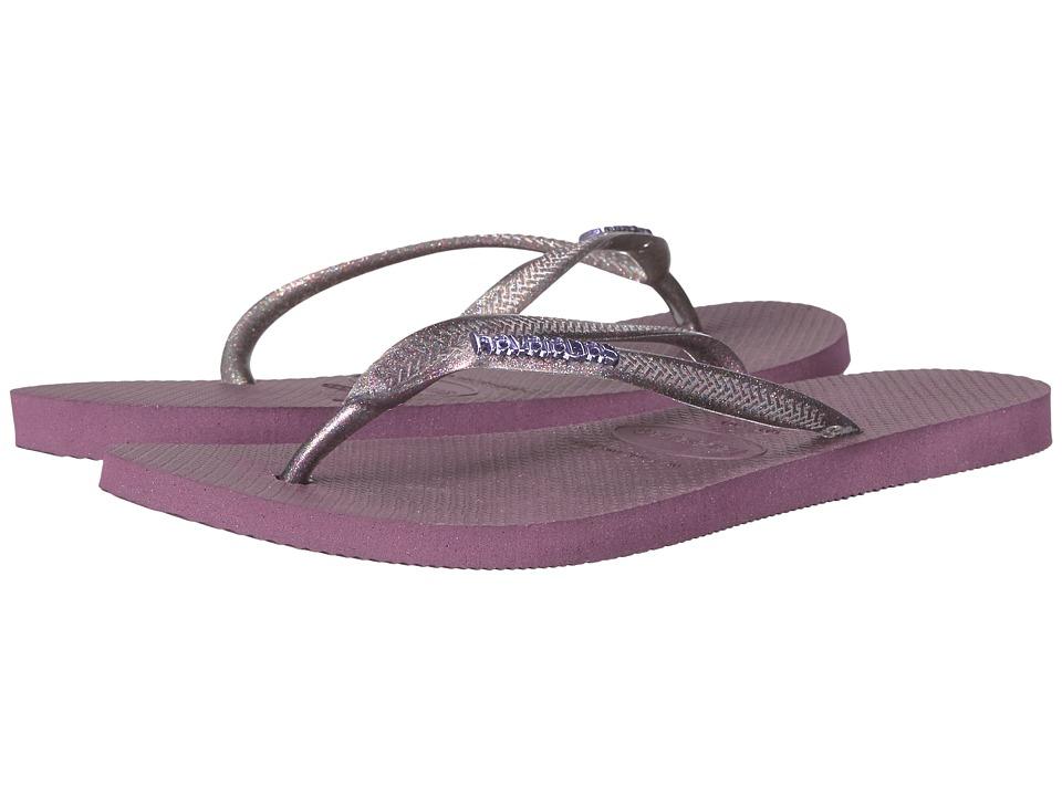 Havaianas - Slim Logo Metallic Flip Flops (Aubergine/Aubergine) Women's Sandals