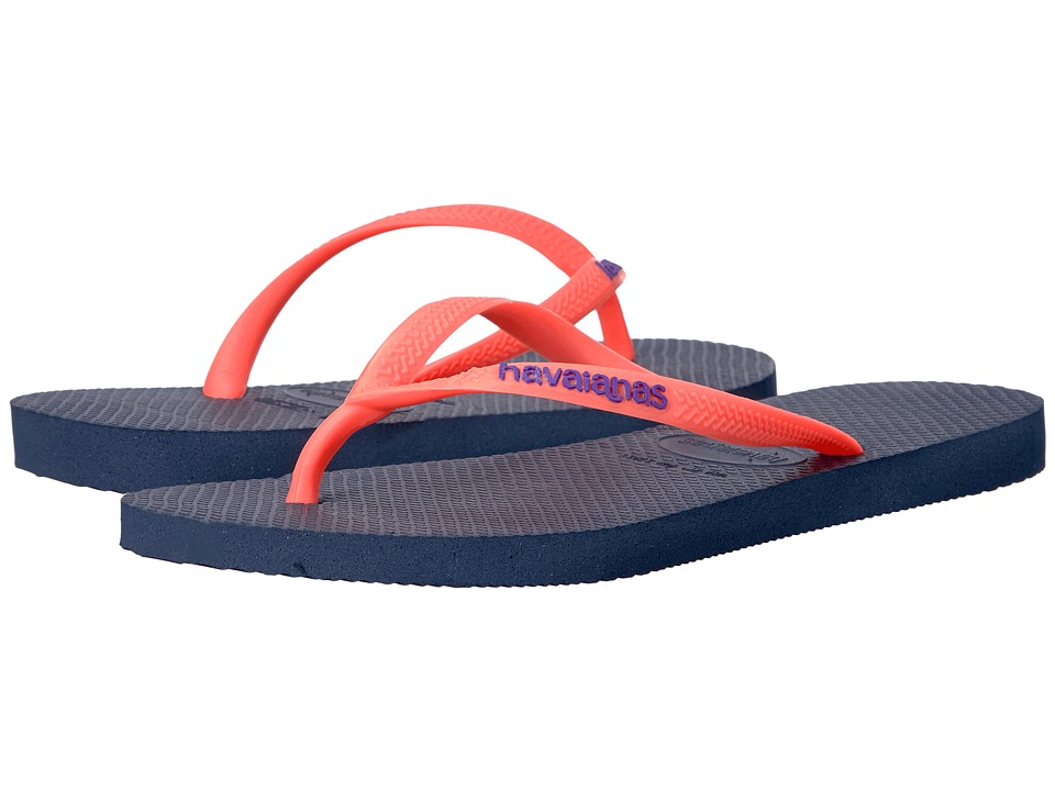 Havaianas Slim Logo Pop-Up Flip Flops (Navy Blue) Women