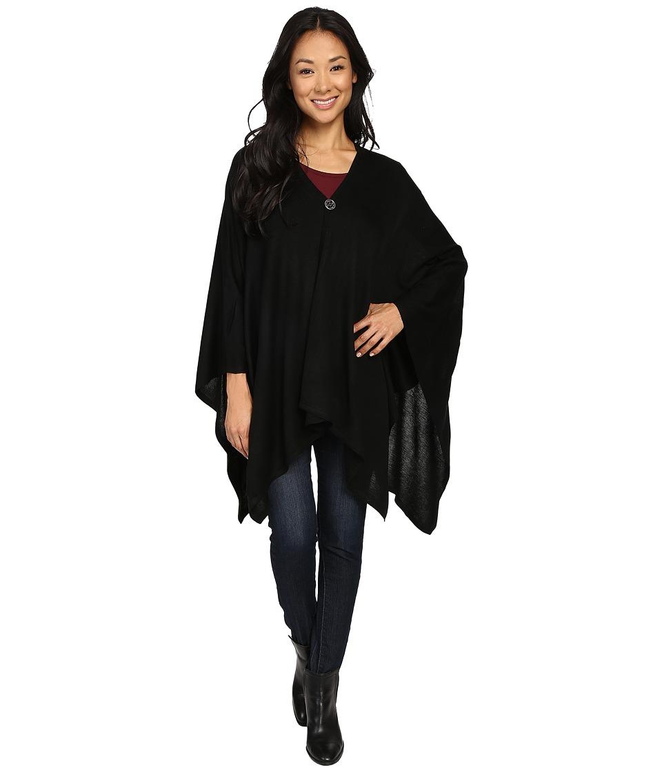Calvin Klein - CK Lightweight Ruana w/ Button Closure (Black) Women's Clothing