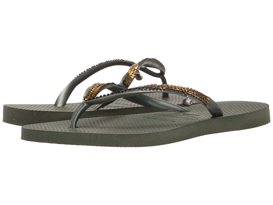 Havaianas - Slim Metal Mesh Flip Flops (Olive Green) Women's Sandals