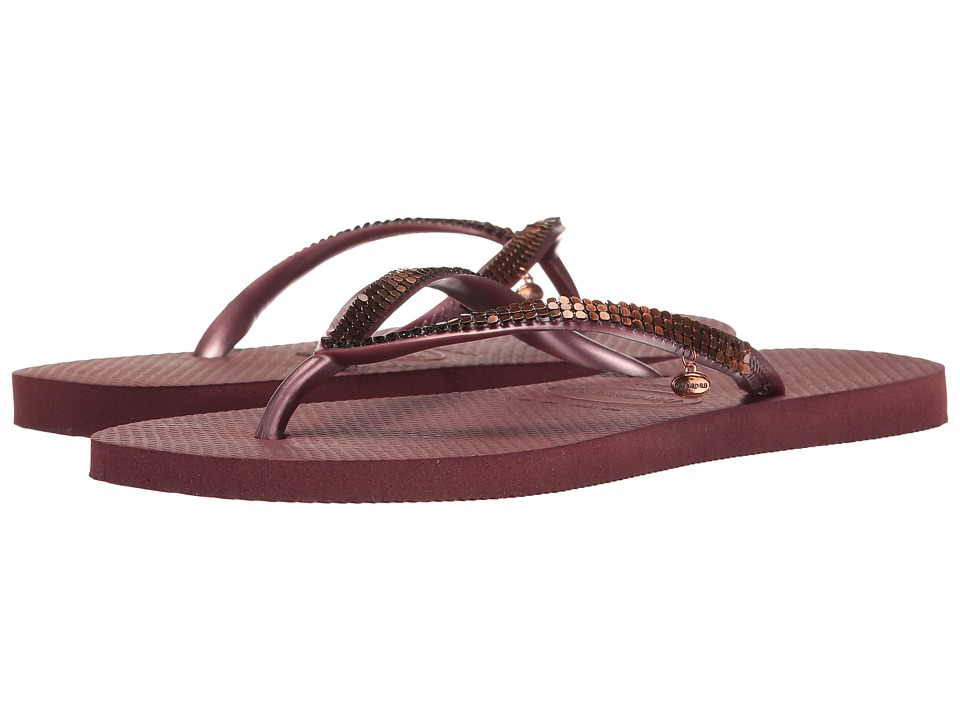 Havaianas - Slim Metal Mesh Flip Flops (Grape Wine) Women's Sandals
