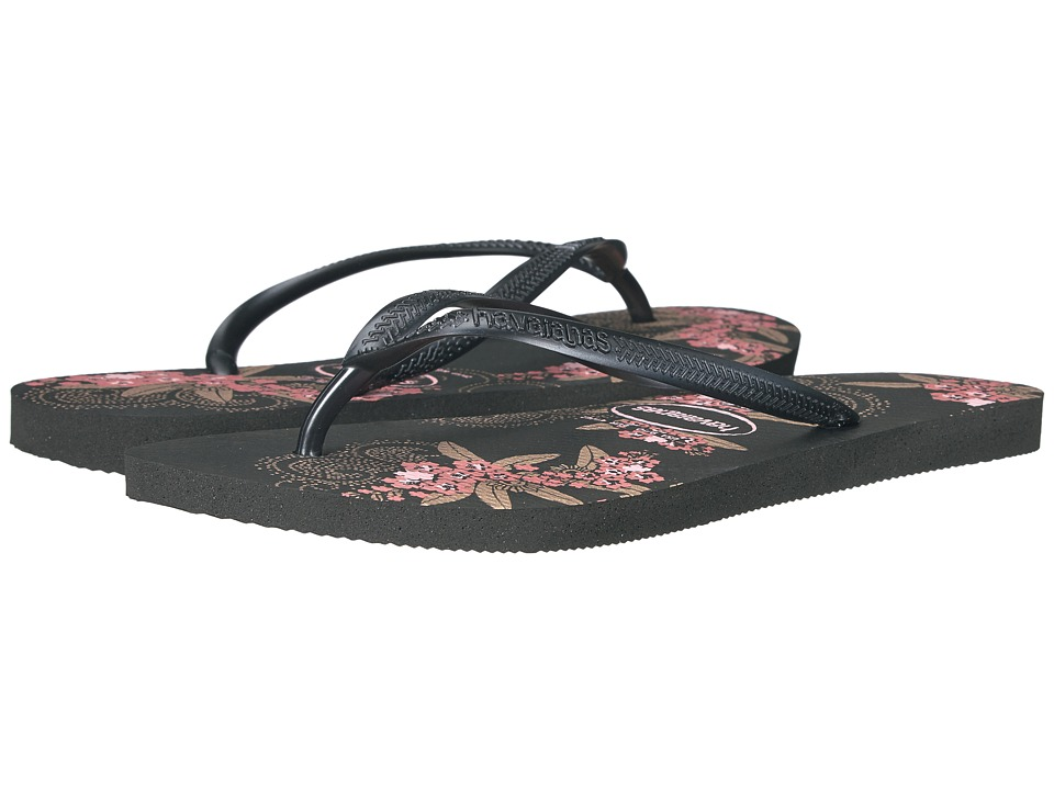 Havaianas Slim Organic Flip Flops (Black/Dark Grey) Women