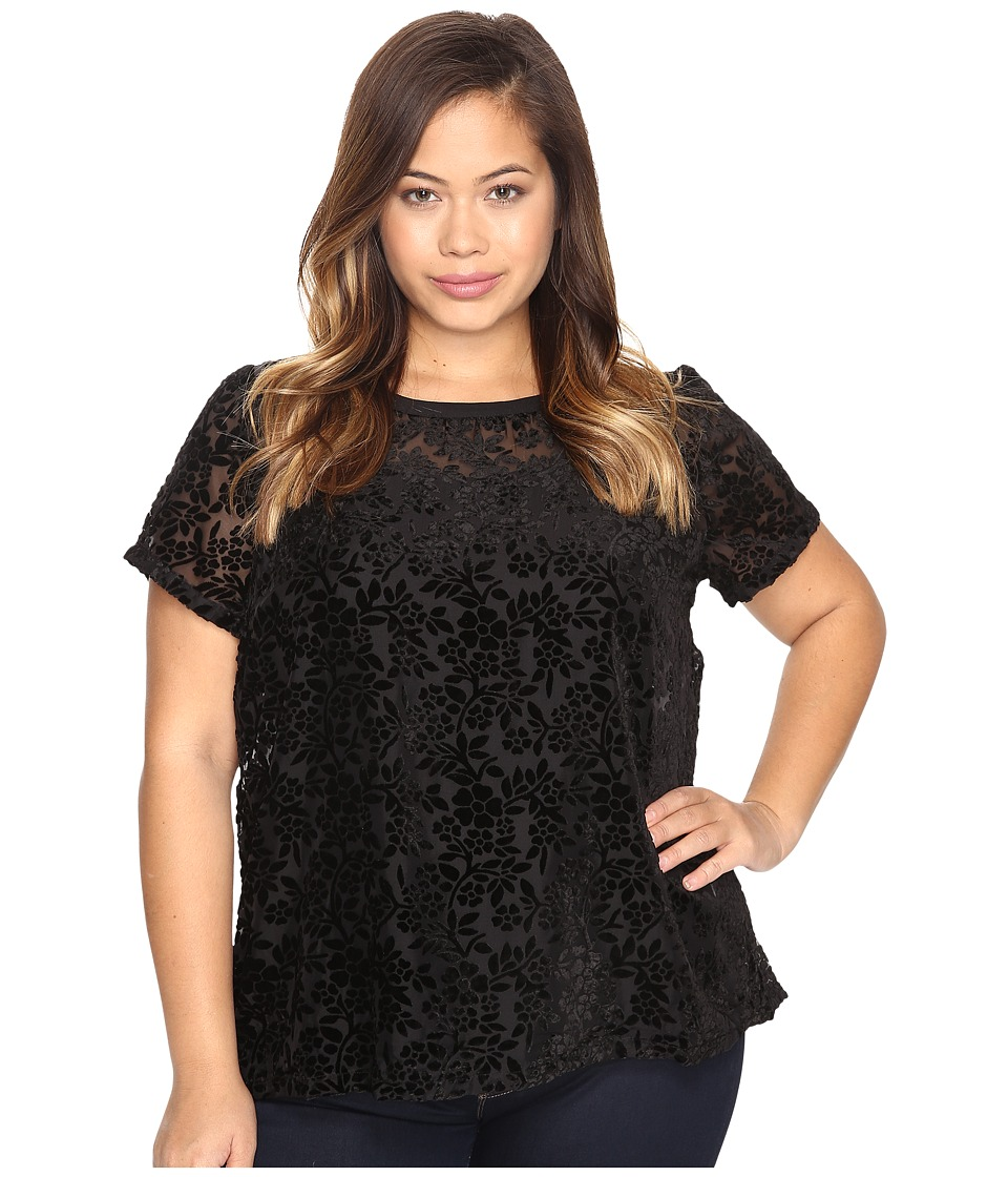 Lucky Brand - Plus Size Burnt Out Top (Lucky Black) Women's Clothing