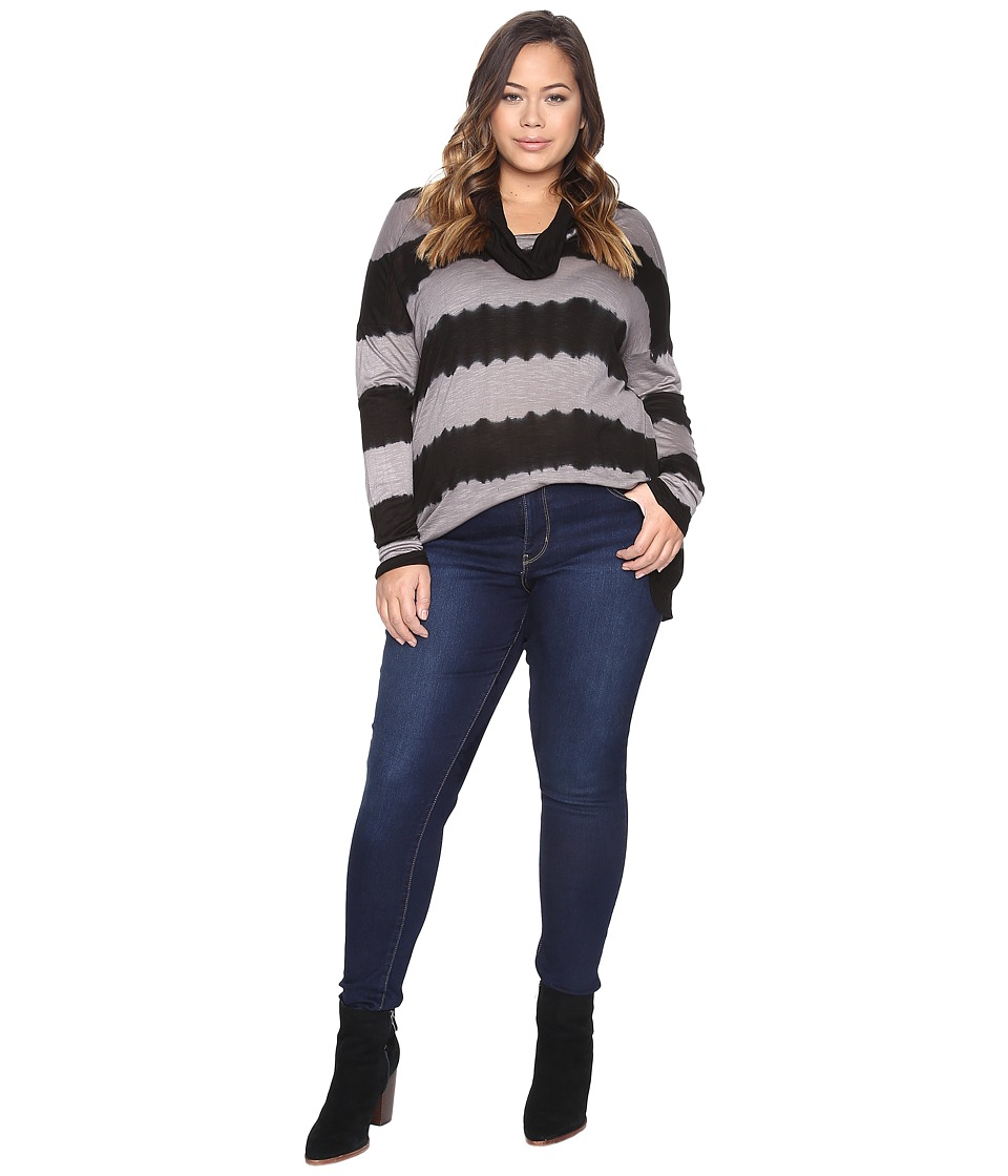 Lucky Brand - Plus Size Cowl Neck Tunic (Black Multi) Women's Clothing